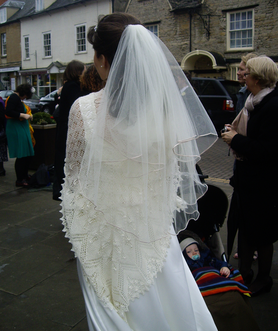 Liz getting married in a dress and veil of her own making