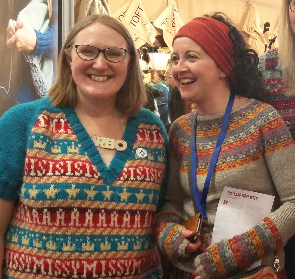 Me in my Missy Elliott Sweater and Kate in her amazing Miss Rachel's Gauntlets and Yoke, at Edinburgh Yarn Festival earlier this year!