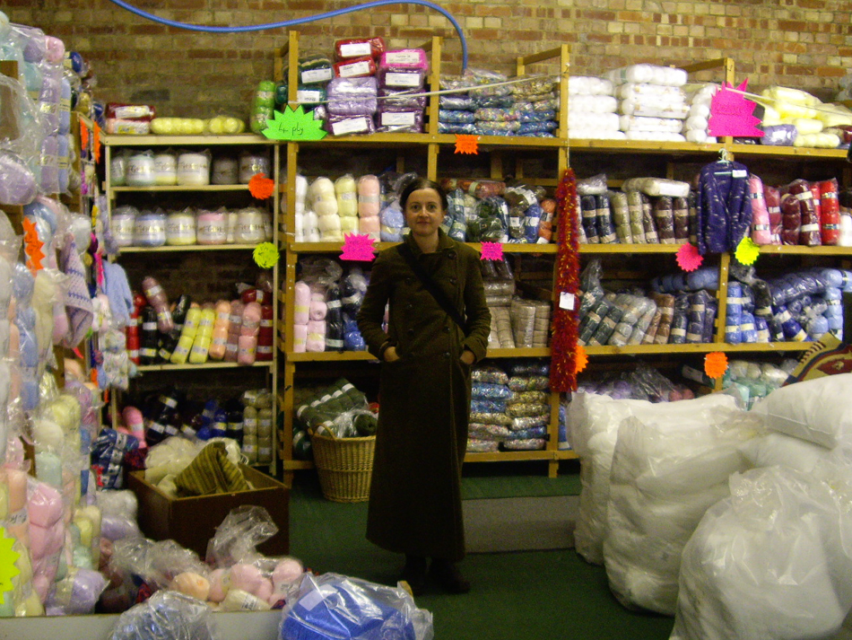 Exploring a crazy yarn emporium in Sussex in 2008