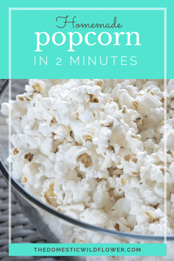 Get the simple recipe to healthy, whole grain, homemade popcorn with no crazy artificial flavors!