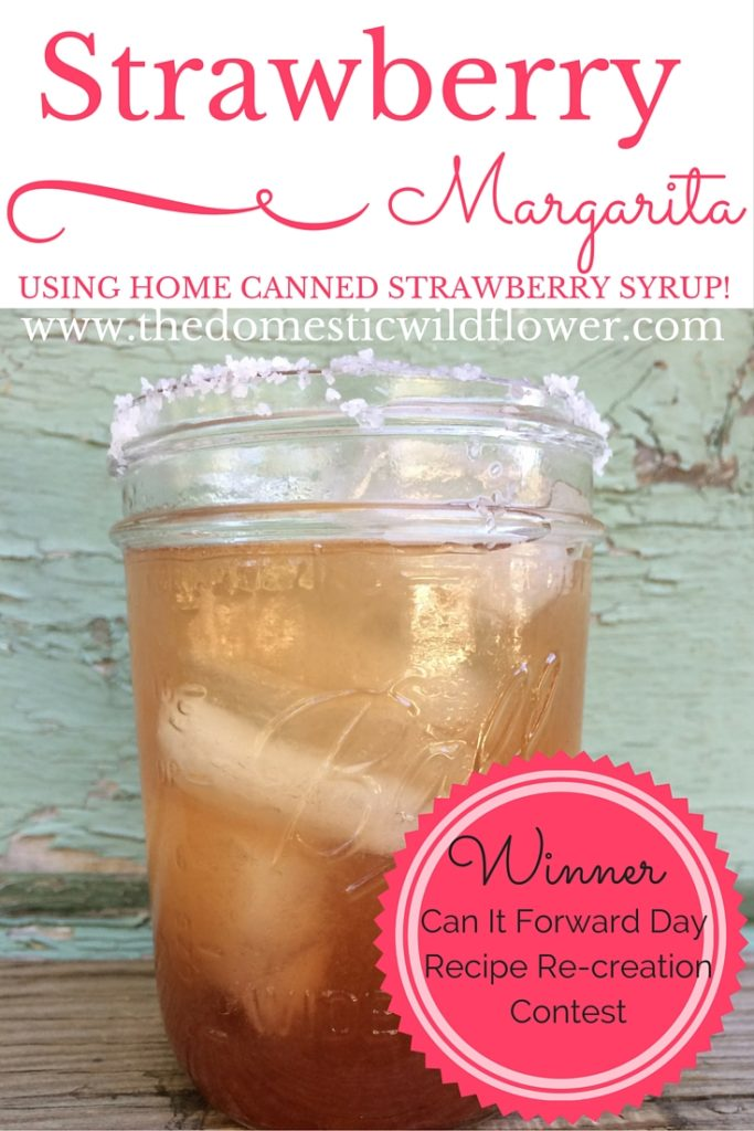 Strawberry Syrup & Strawberry Margarita Recipes | The Domestic Wildflower click to read the simple canning recipe for strawberry syrup that is just as delicious on pancakes as it is in a margarita! Read it now!