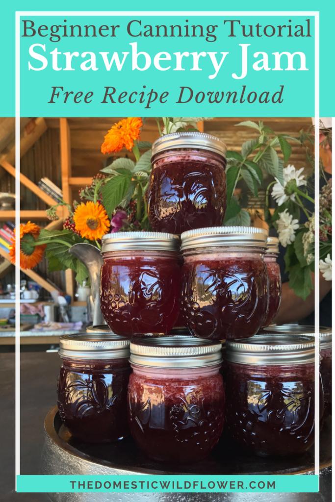 Strawberry Jam Canning Recipe Beginner Canning Tutorial with free recipe download! Strawberries are THE easiest beginner canning project ever and this recipe can be doubled or cut in half! Get it here!
