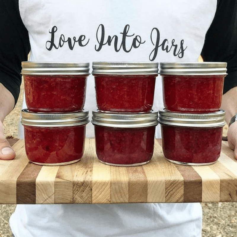 6 jars of raspberry jam Tower of canning jars from the Best Canning Jars post