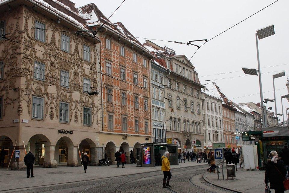 Straßenzeile in Grazer Innenstadt