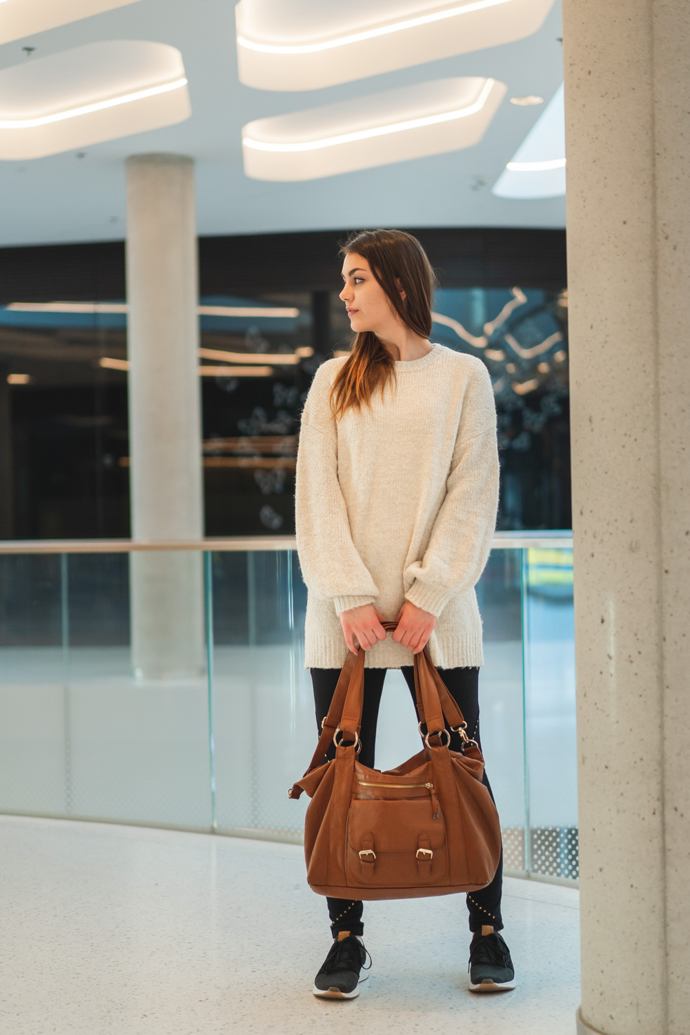 Cozy travel outfit with leggings and pullover