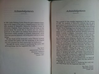 The second photo shows the deletion of the translator in different editions of Joyful Path of Good Fortune (date on the photos)