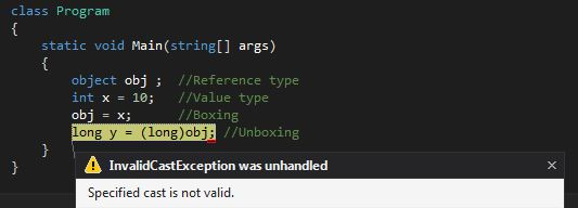 Unboxing Invalid Cast Exception