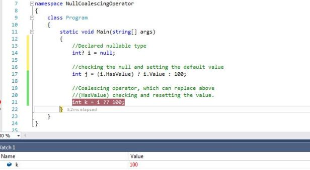 Null Coalescing Operator example 1.0
