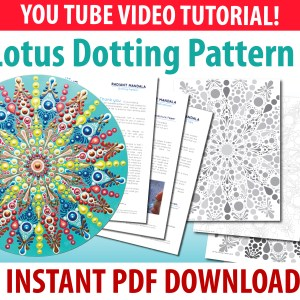 Lotus Dot Mandala Pattern #3 – PDF Digital Download with YouTube Video Tutorial