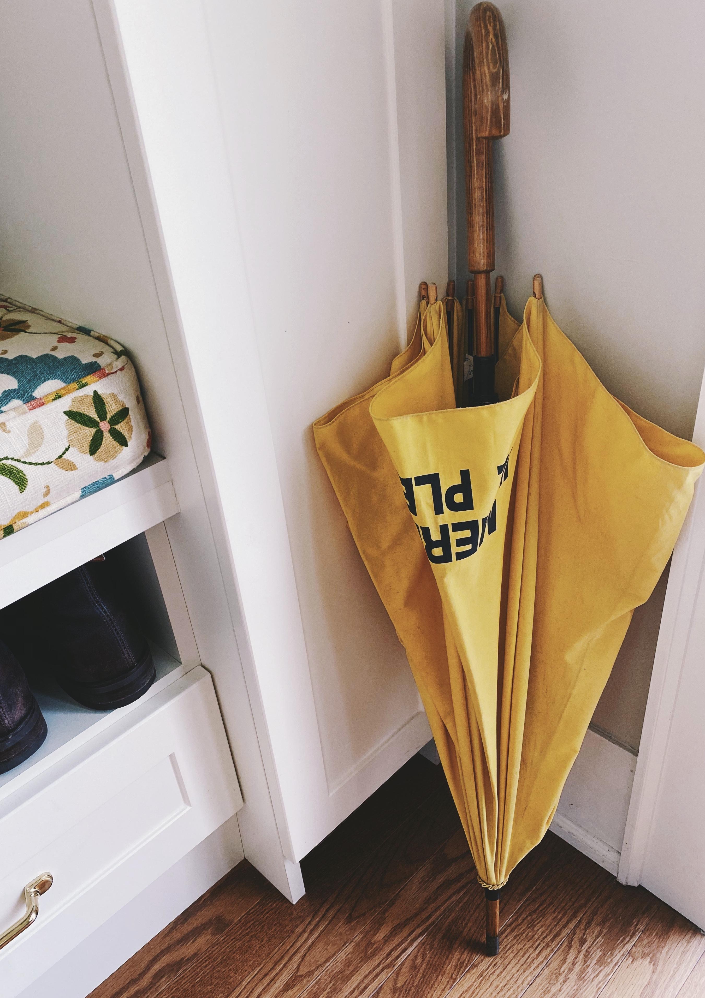 Merde Il Pleut Long Wood Frame Umbrella