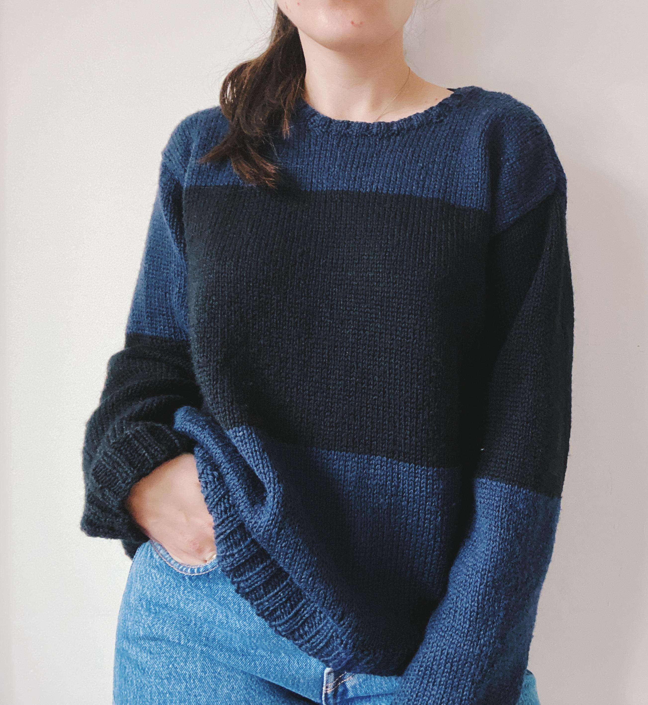 navy and black handmade sweater