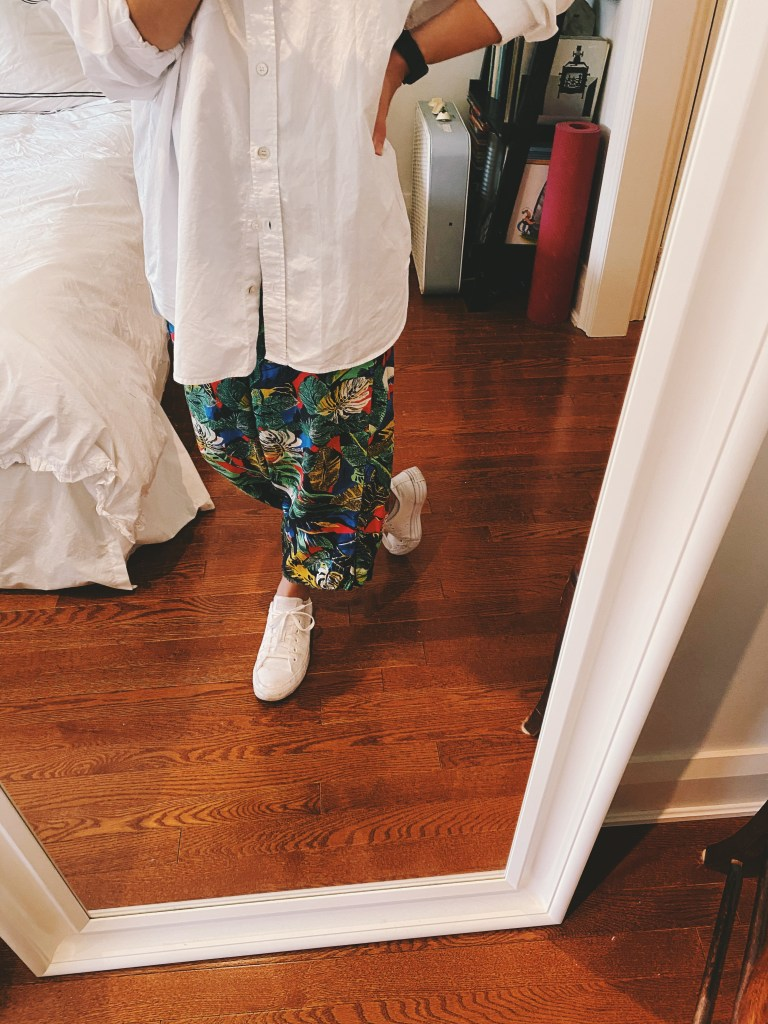 ootd white shirt printed pants