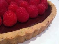 Raspberry & Chocolate Tart in a Pistachio Shortbread Crust