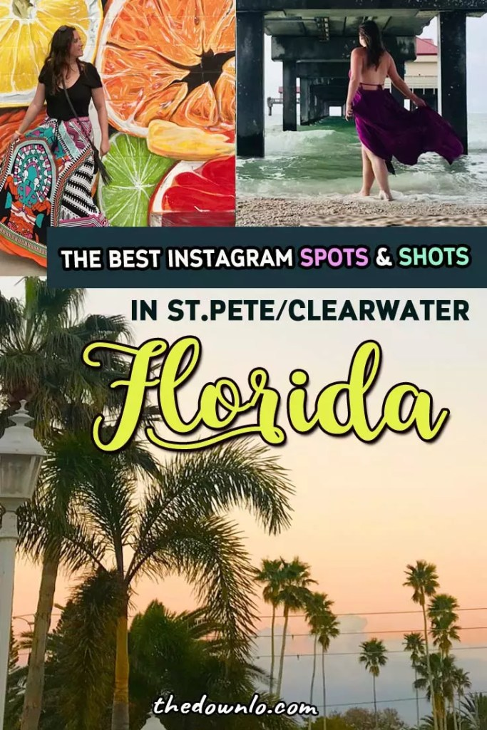 Fun things to do in St Petersburg and Clearwater Florida (near Tampa) from the beach to downtown murals and photography spots and must see hotels. Restaurants and ideas for a girls trip and activities when you travel with kids. What to do in Central Florida: see the street art, eat all the food, and plan a photoshoot by the pier, at the Don Cesar or Sunken Garden. The art and pictures are Instagram gold. A travel guide for photography lovers and hidden gems. #FL #travel #clearwater #stpetersburg