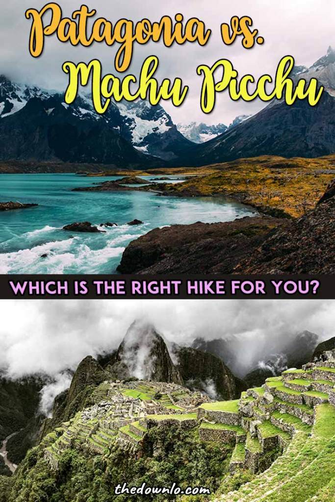 South America travel bucket list and hikes -- Patagonia or Machu Picchu, which is the right long nature hike route for you? The different trek options for adventure, outdoors, landscapes and photography in destinations like Argentina and Chile vs. Peru for bucket lists. Pictures, photos, budget and cost tips to inspire your trip to the Inca Trail, Torres del Paine or Glacier National Park. #southamerica #machupicchu #patagonia