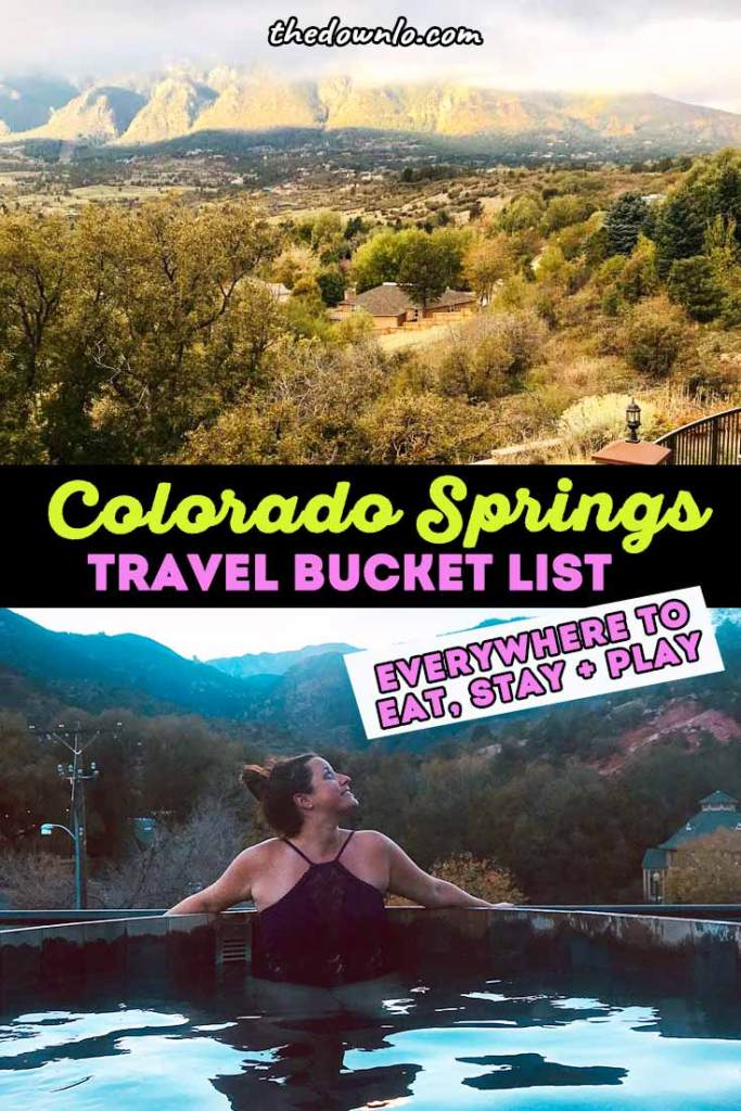 The ultimate guide to Colorado Springs things to do. Most people think Denver when planning a trip to #Colorado, but Colorado Springs has more bucket list Rocky Mountain experiences for family road trips and vacation ideas with kids. Here is what to do, see and eat including restaurant recommendations, awesome nature hikes, and beautiful places to visit. Photo spots from Pike's Peak to the free Garden of the Gods, Seven Falls, and Manitou Springs in summer, winter or fall. #travel #usa #america