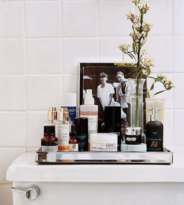 mirrored tray - bathroom organization