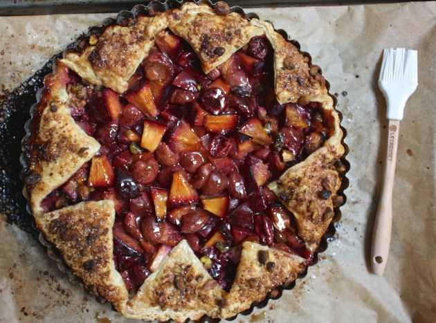 Pistachio Crusted Stone Fruit Tart