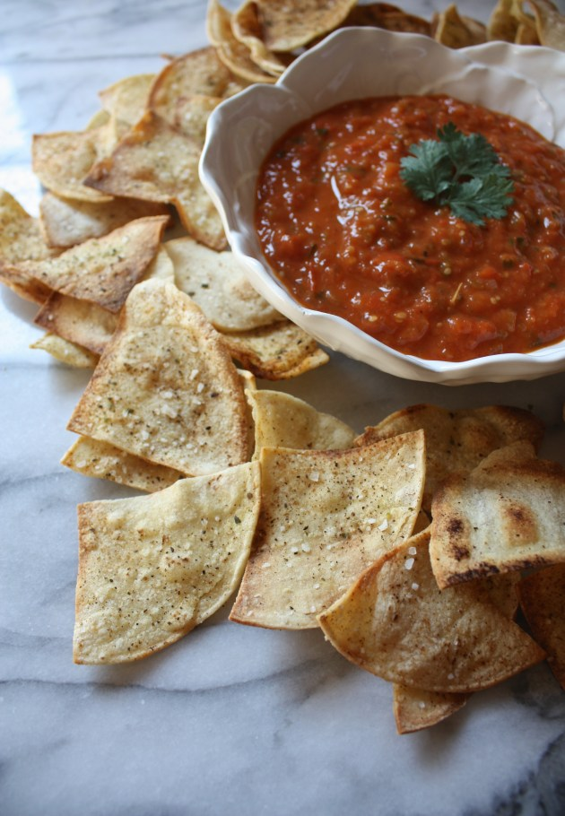 Roasted Tomato + Tomatillo Salsa with Baked Paprika Spiced Tortilla Chips