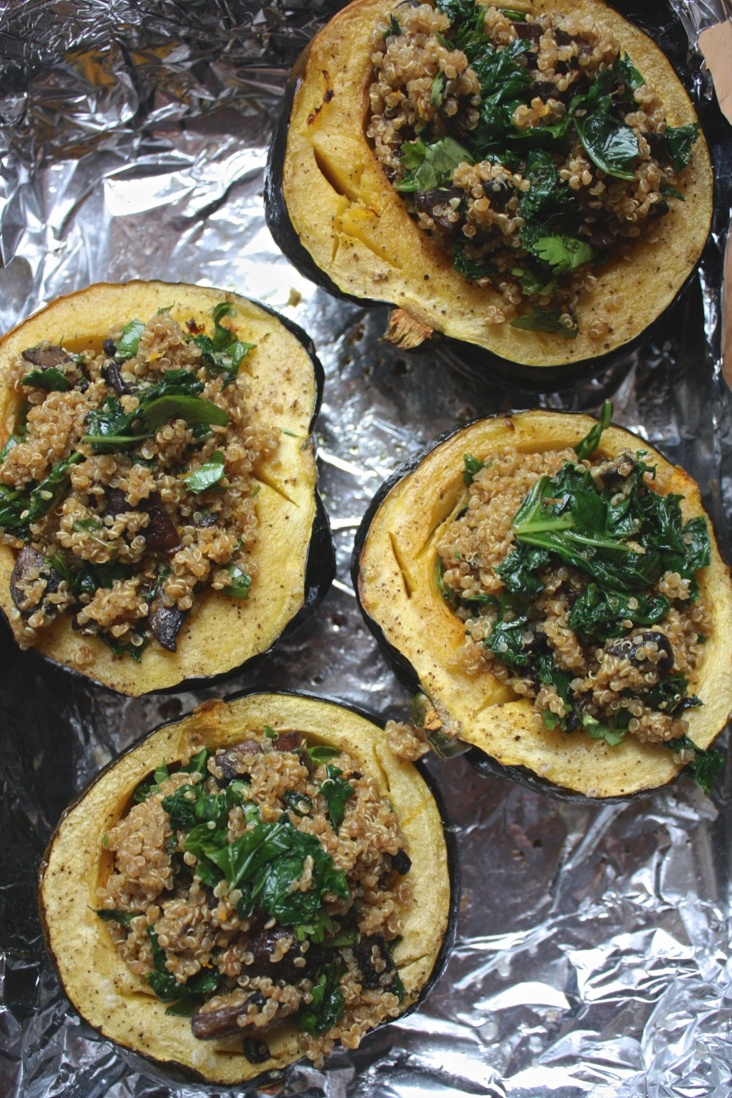Curry Spiced Quinoa + Kale Stuffed Acorn Squash
