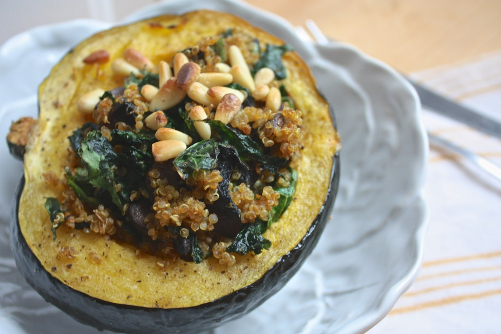Minimalist Cooking: Curry Spiced Quinoa + Kale Stuffed Acorn Squash