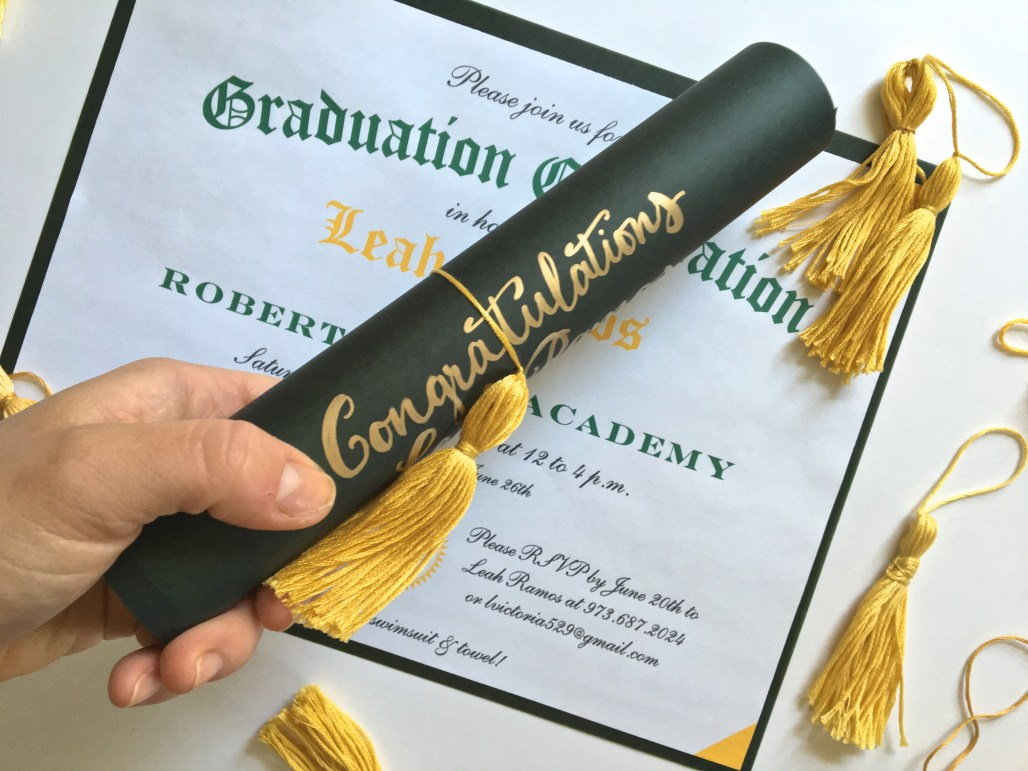 Graduation Diploma Invitations with DIY Tassels