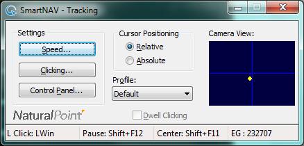 Initial SmartNAV Configuration Screen