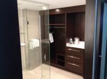Huge glass shower in the bathroom