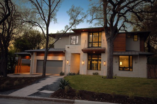 Bowman Residence Front Exterior by Cornerstone Architects, Austin, TX