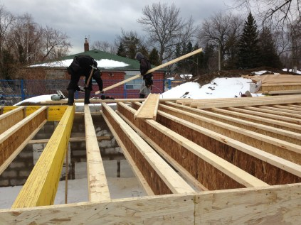 The beginnings of the main floor framing