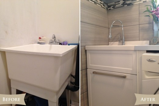 Laundry room reveal - Sink before & after