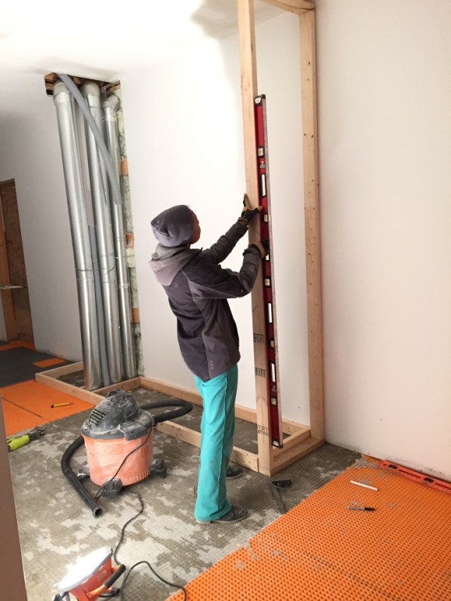 Getting the first wall up & plumb