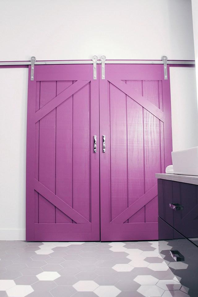 DIY sliding barn doors - painted in PARA Pixie Pop (PF-3) - Master Bath Retreat   The Dreamhouse Project