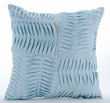 Textured blue accent pillow