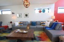 Modern industrial family room - grey sectional
