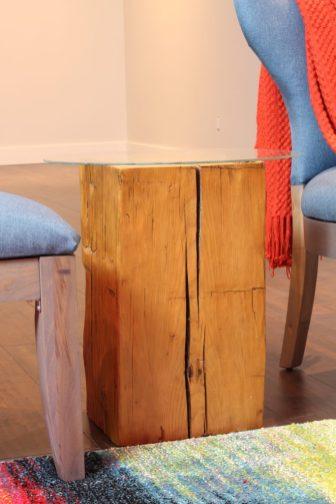 DIY Reclaimed barn beam side table