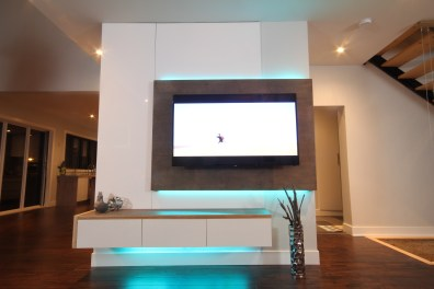 Dreamhouse Project DIY media wall LED lights aqua