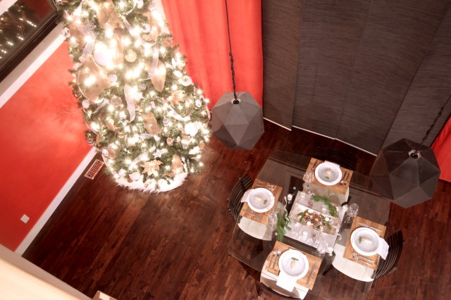 Dreamhouse Project modern industrail Christmas tree & dining table aerial view