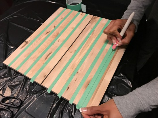 Taping off areas to leave unstained