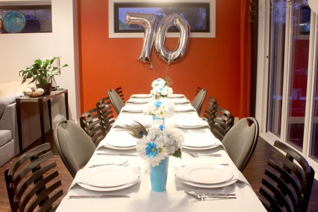 70th Birthday Party table setting - Year of feasting