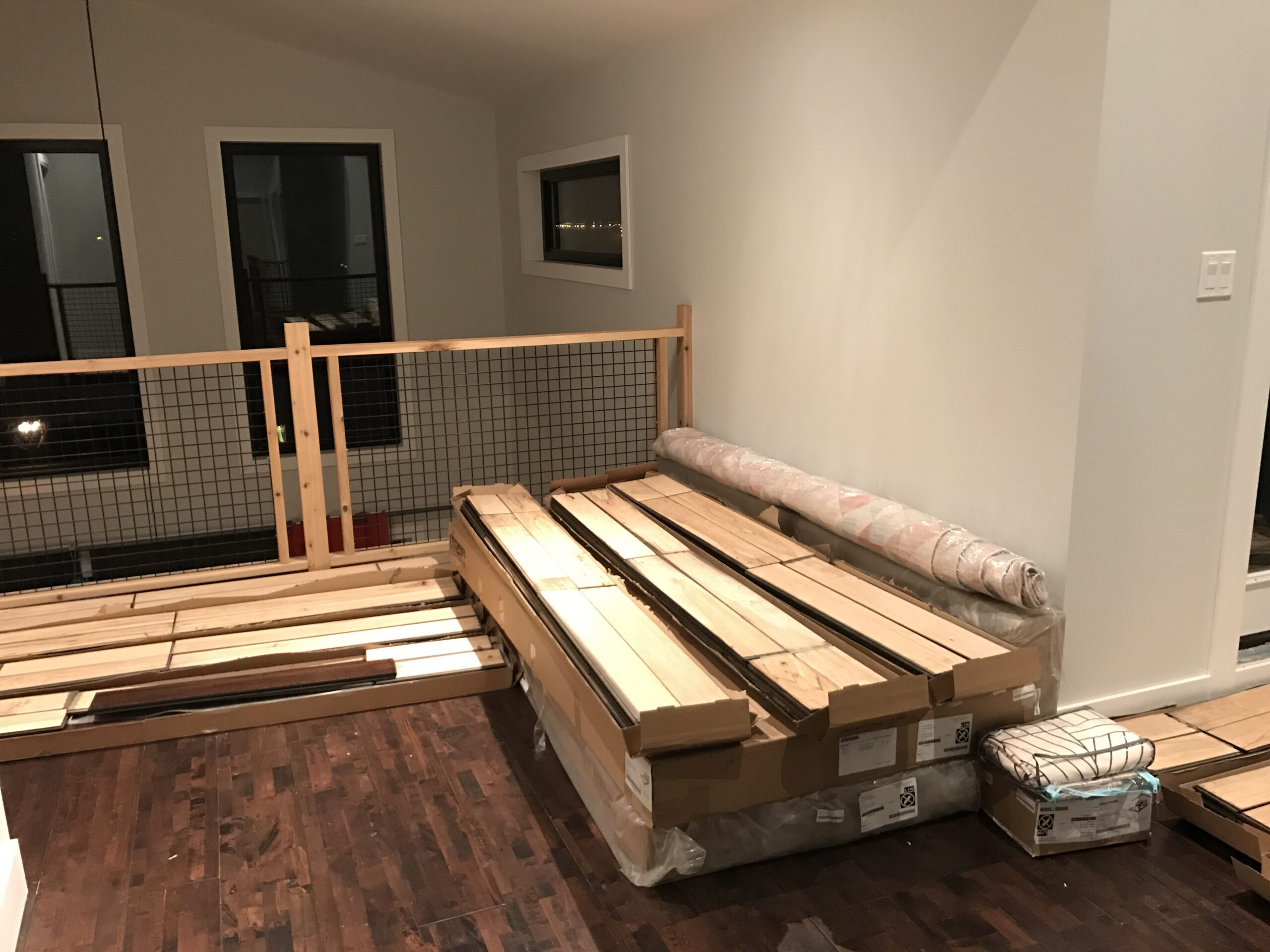 Hardwood for the dream bedroom getting acclimatized