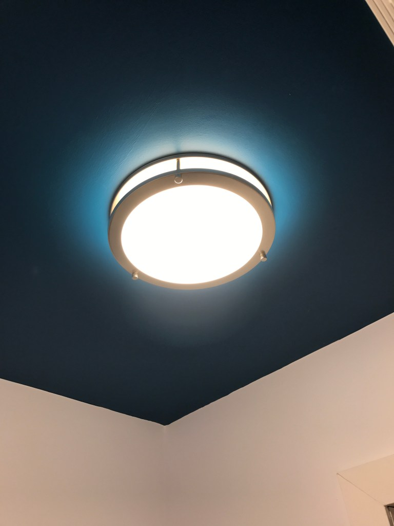 After: LED Flush mount fixture installed in our powder room