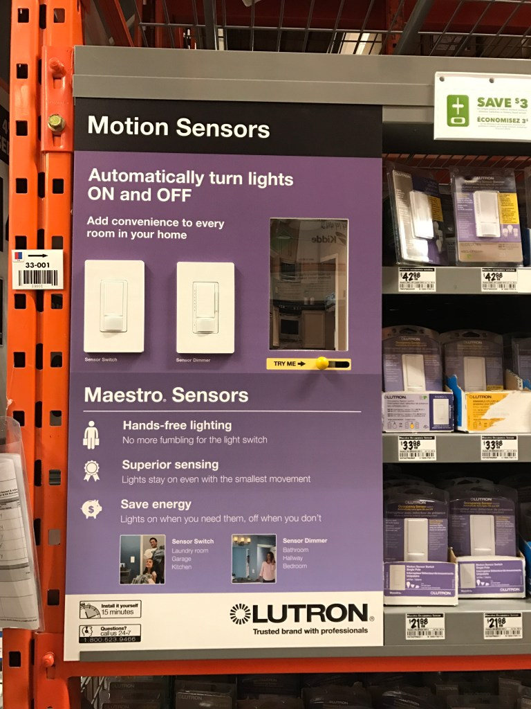 Lutron motion sensors & timers at the Home Depot