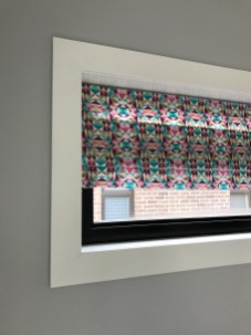 Close up of the DIY faux roman blinds for the dream bedroom