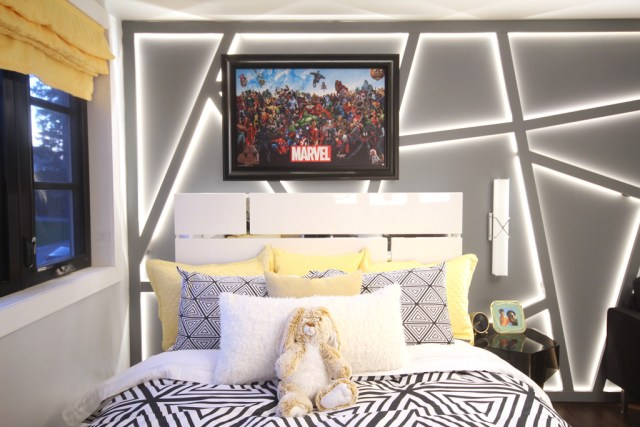 Stanton Queen Platform Bed from The Brick featured in our Modern Marvel Bedroom makeover