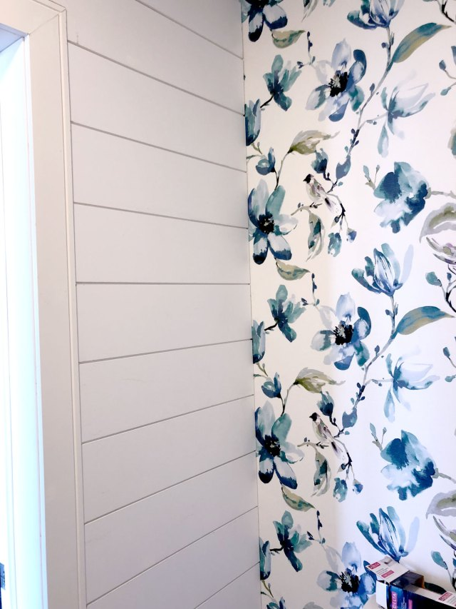 Modern shiplap installed alongside a beautiful DIY wallpaper feature