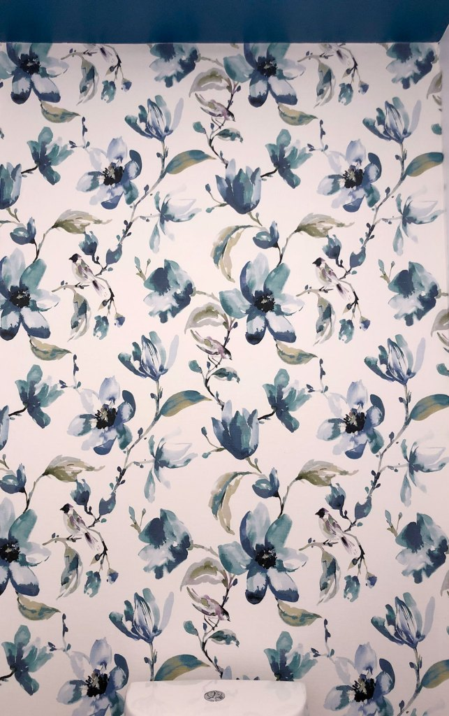 DIY Fabric Wallpaper using the beautiful Layla fabric in indigo from Tonic Living