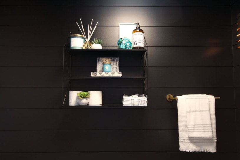 The black shiplap walls from Metrie provide a stunningly striking backdrop for the space