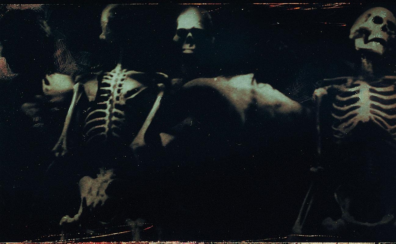 young shirtless neil gaiman and skeletons