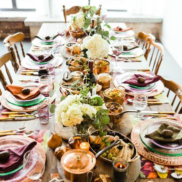 Long table of food for the meaning of a feast in a dream